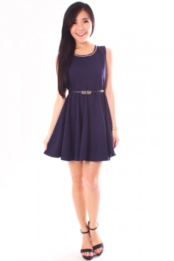 Chain Neckline Skater Dress
