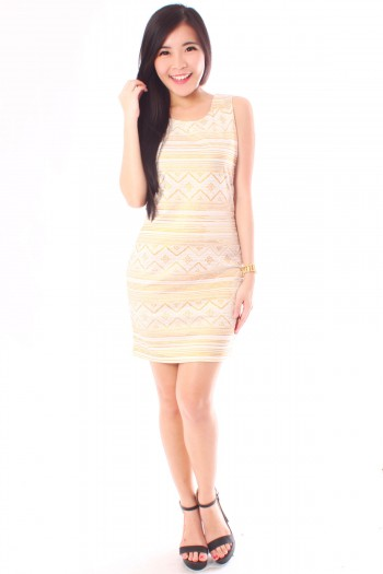 Gold Aztec Shift Dress