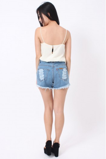 Crochet Panel Denim Shorts