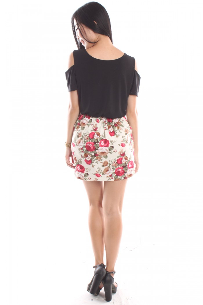 floral high waist tulip skirt the label junkie