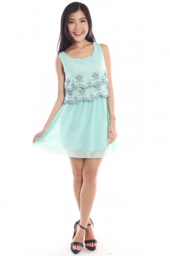 Embroidered Scallop Tier Dress