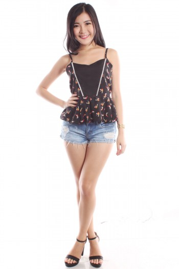 Swallows Print Peplum Top