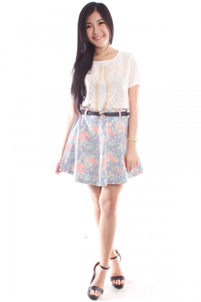 Faded Floral Denim Skirt - The Label Junkie