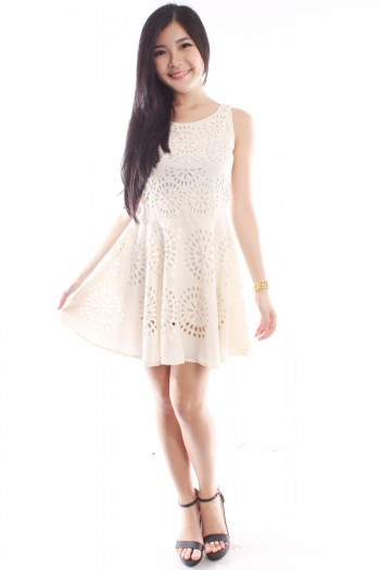 Laser Cut-Out Skater Dress