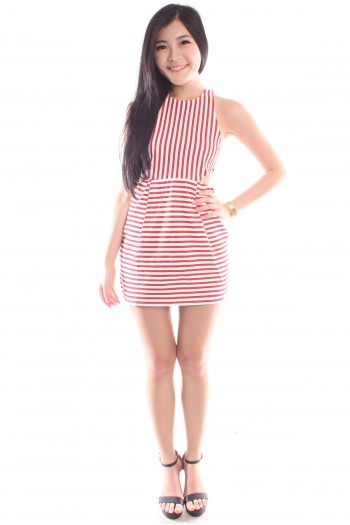 Striped Cut-Out Dress