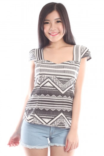 Aztec Abstract Sweetheart Top