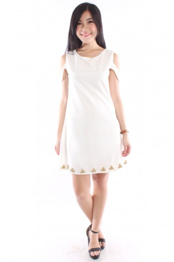 Embellished Slit Sleeves Shift Dress
