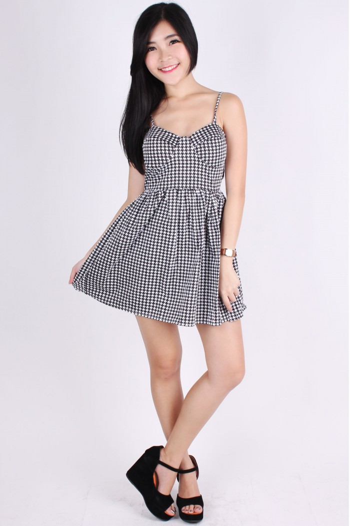 Houndstooth Bustier Dress The Label Junkie