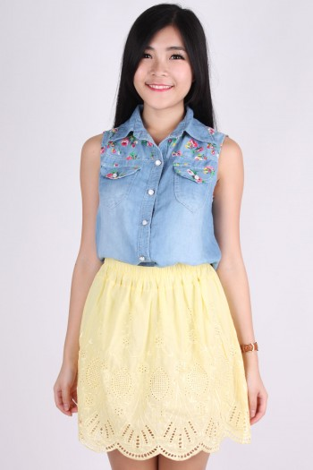 Floral Trim Denim Shirt