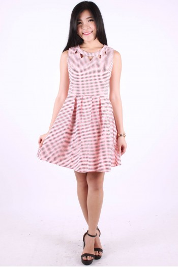 Cut-Out Printed Skater Dress