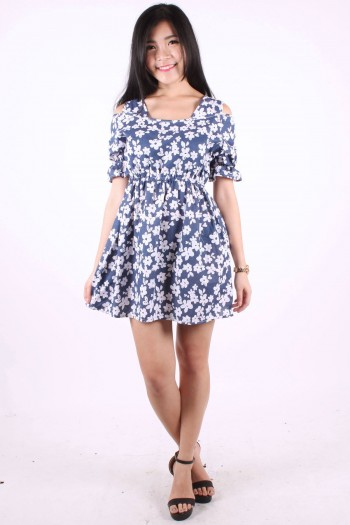 Slit Shoulder Floral Dress
