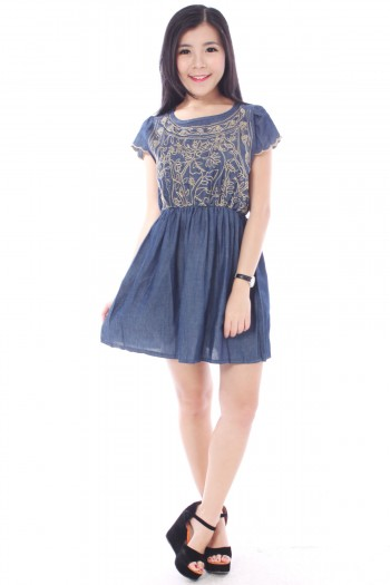 Denim Embroidered Dress