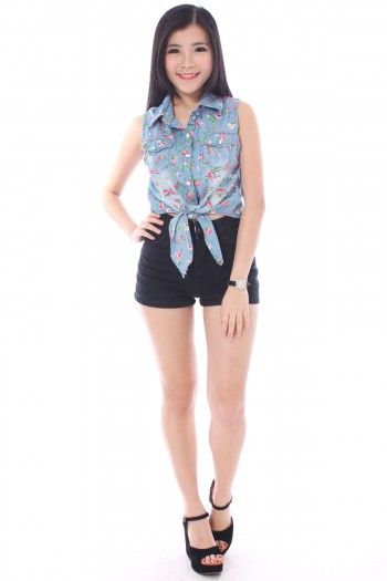 Denim Floral Tie Top