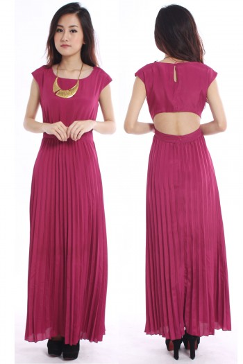 Cut-Out Pleated Maxi Dress