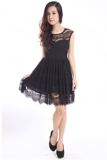 Sweetheart Lace Skater Dress
