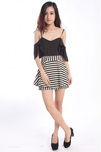 Slit Sleeves Striped Romper