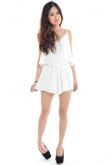 V-Neck Crochet Romper