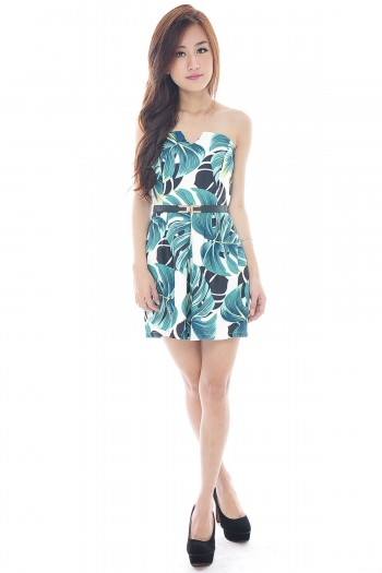 Palm Print V-Neck Playsuit