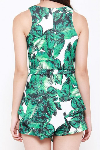 Palm Leaves Peplum Romper