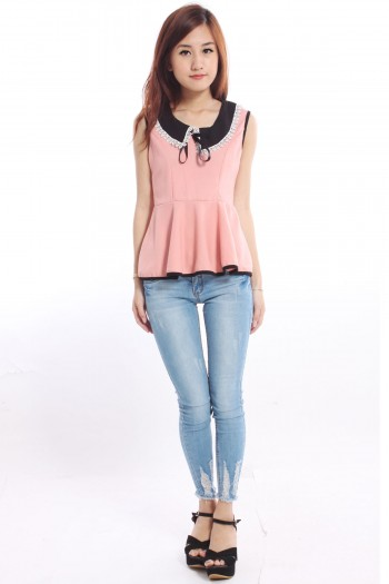 Peterpan Collar Peplum Top