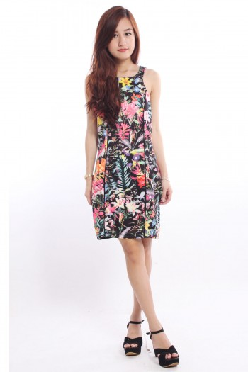 Floral Piping Bodycon Dress