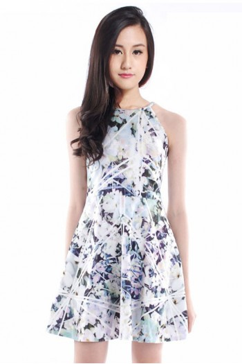 (RESTOCKED)*PREMIUM* Floral Halter Skater Dress