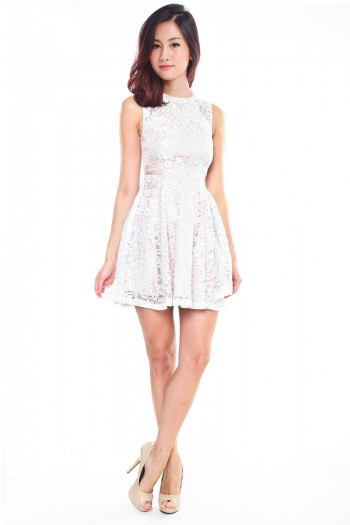 *Premium* Lace Open-Back Skater Dress