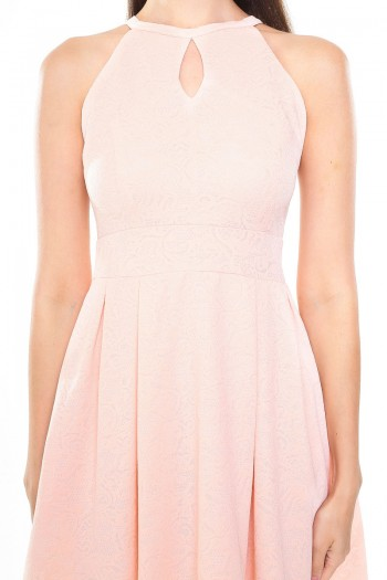 *Premium* Lace Embossed Keyhole Skater Dress