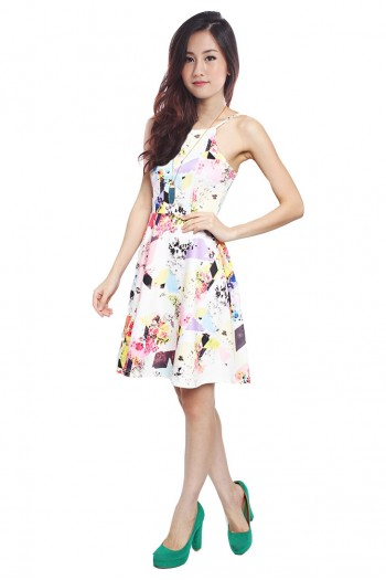 Floral Patchwork Skater Dress