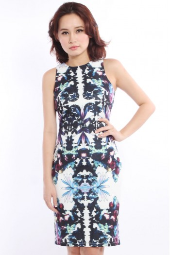 *Premium* Abstract Mirrored Midi Dress