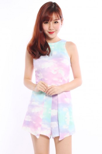 Abstract Watercolour Pleated Romper