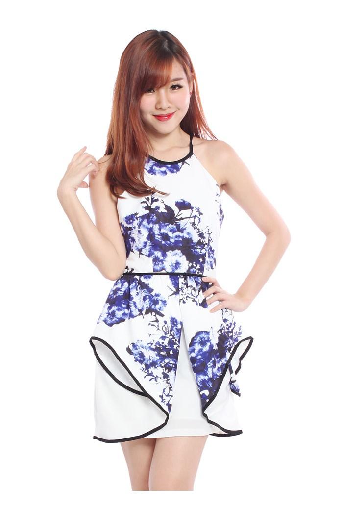 Floral Origami Peplum Dress The Label Junkie