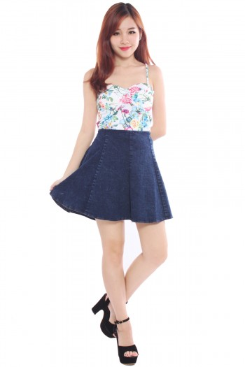 Pleated High Waist Denim Skirt