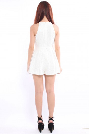 *Premium* Lace Eyelet Pleated Romper
