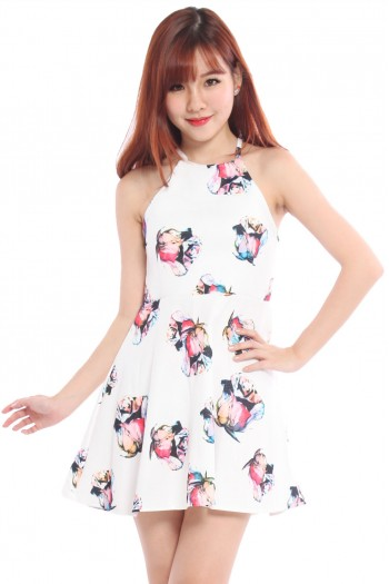 Tinted Rose Print Halter Dress