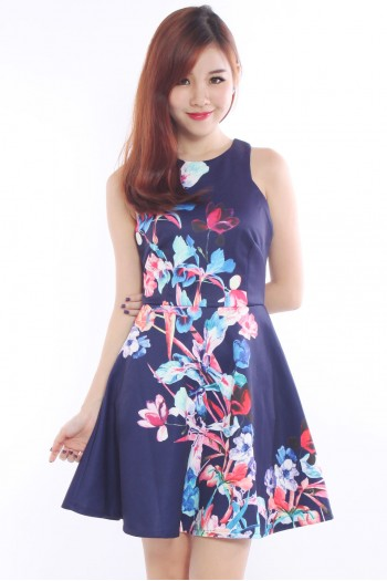 Spring Foliage Cut-In Skater Dress