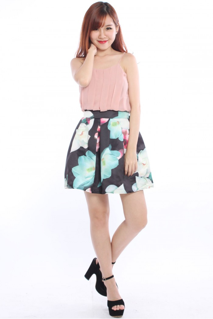 Satin Pleated Floral Skirt The Label Junkie