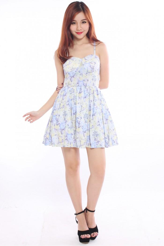 Floral Bustier Dress The Label Junkie