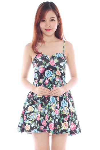 Sweetheart Floral Bustier Dress