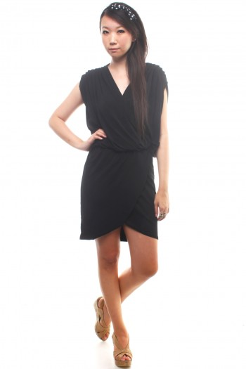 V-Neck Draped Dress