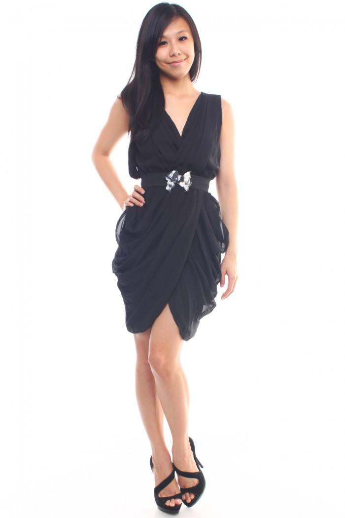 drape dress with belt the label junkie