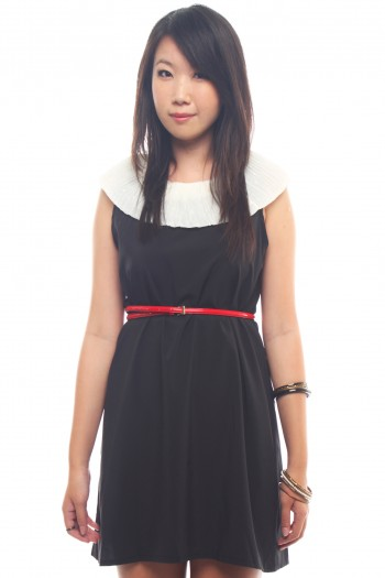 Ruffled Bib Shift Dress