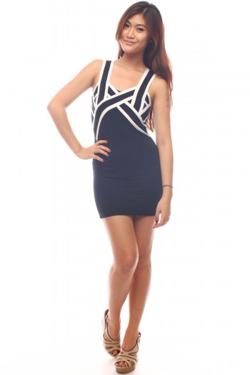 Criss Cross Panel Bandage Dress