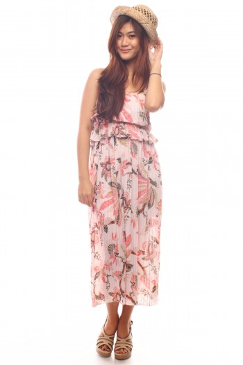 Floral Pleated Maxi Dress