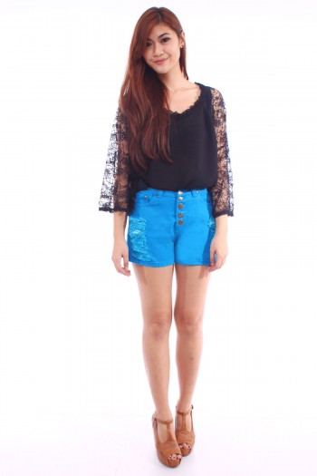 Button High Waist Shorts