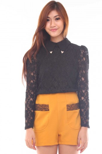 Metal Tip Collar Lace Top