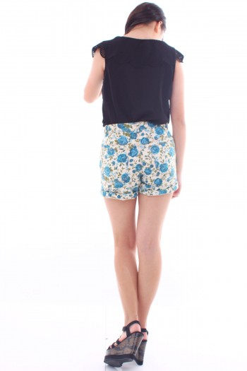 Floral High Waist Denim Shorts