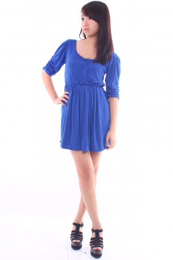 Ruched Button Skater Dress