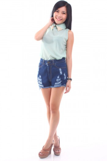 High Waist Shredded Denim Shorts