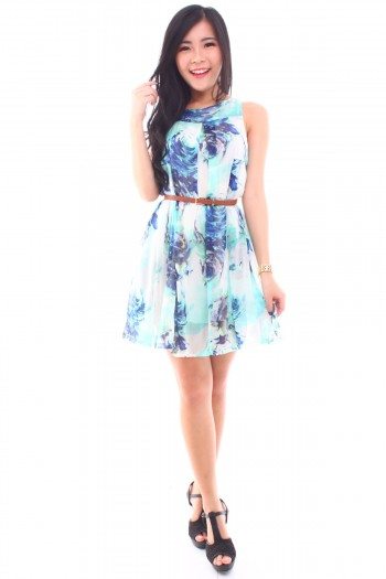 Watercolour Swirls Pleated Dress